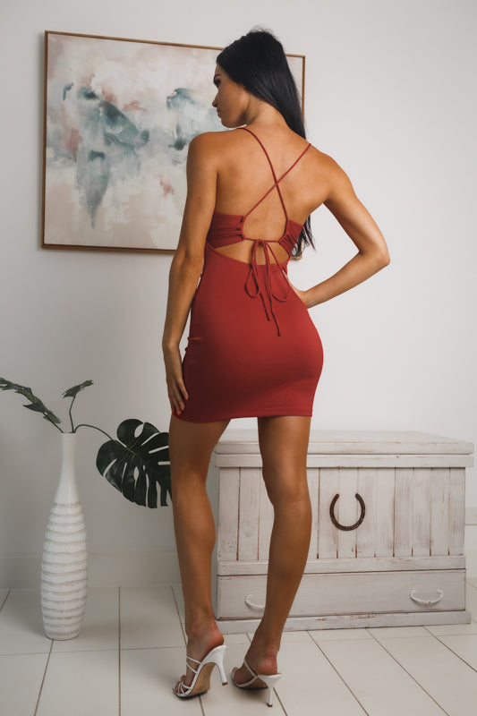 ELSA OPEN BACK MINI DRESS - Red