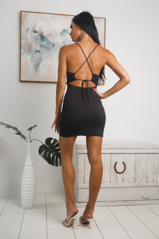 ELSA OPEN BACK MINI DRESS - Black