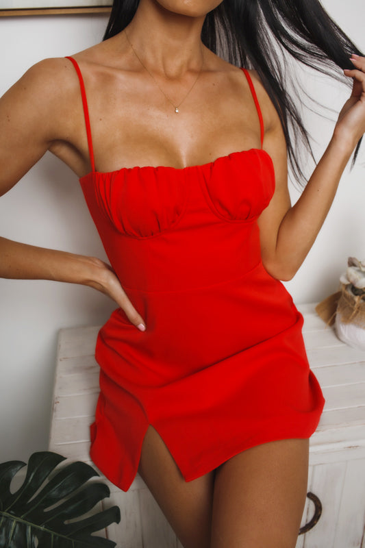 CHARLENE MINI DRESS - Red