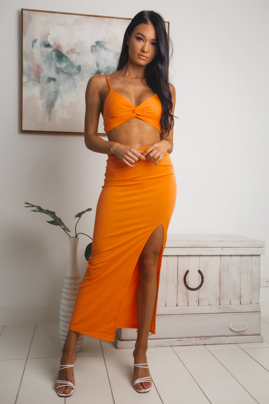 PRISCILLA FRONT SPLIT MAXI SKIRT - Orange