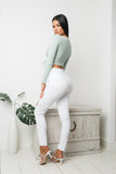 SOFIA LONG SLEEVE CROP TOP - Mint Green