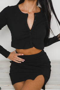 KIRA LONG SLEEVE CROP TOP - Black