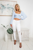 NICOLE LONG SLEEVE CROP TOP - Blue