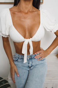 DAISY CROP TOP - White