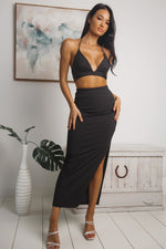 ELLISON SIDE SPLIT MAXI SKIRT - Black