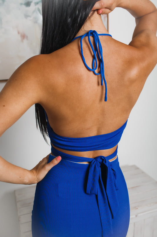 ELLISON BACKLESS CROP TOP - Cobalt Blue