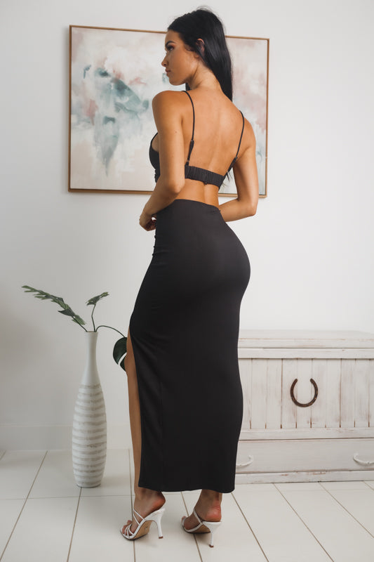 PRISCILLA FRONT SPLIT MAXI SKIRT - Black