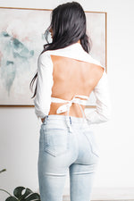 MELISSA BACKLESS CROP TOP - White