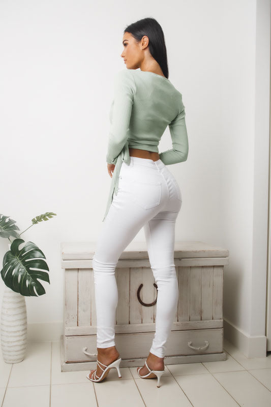 PAPER HEARTS LONG SLEEVE CROP TOP - Mint
