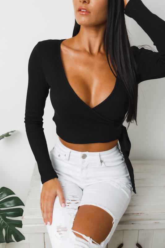 PAPER HEARTS LONG SLEEVE CROP TOP - Black