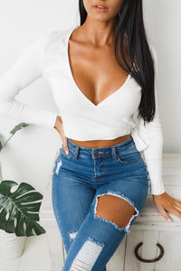 PAPER HEARTS LONG SLEEVE CROP TOP - White