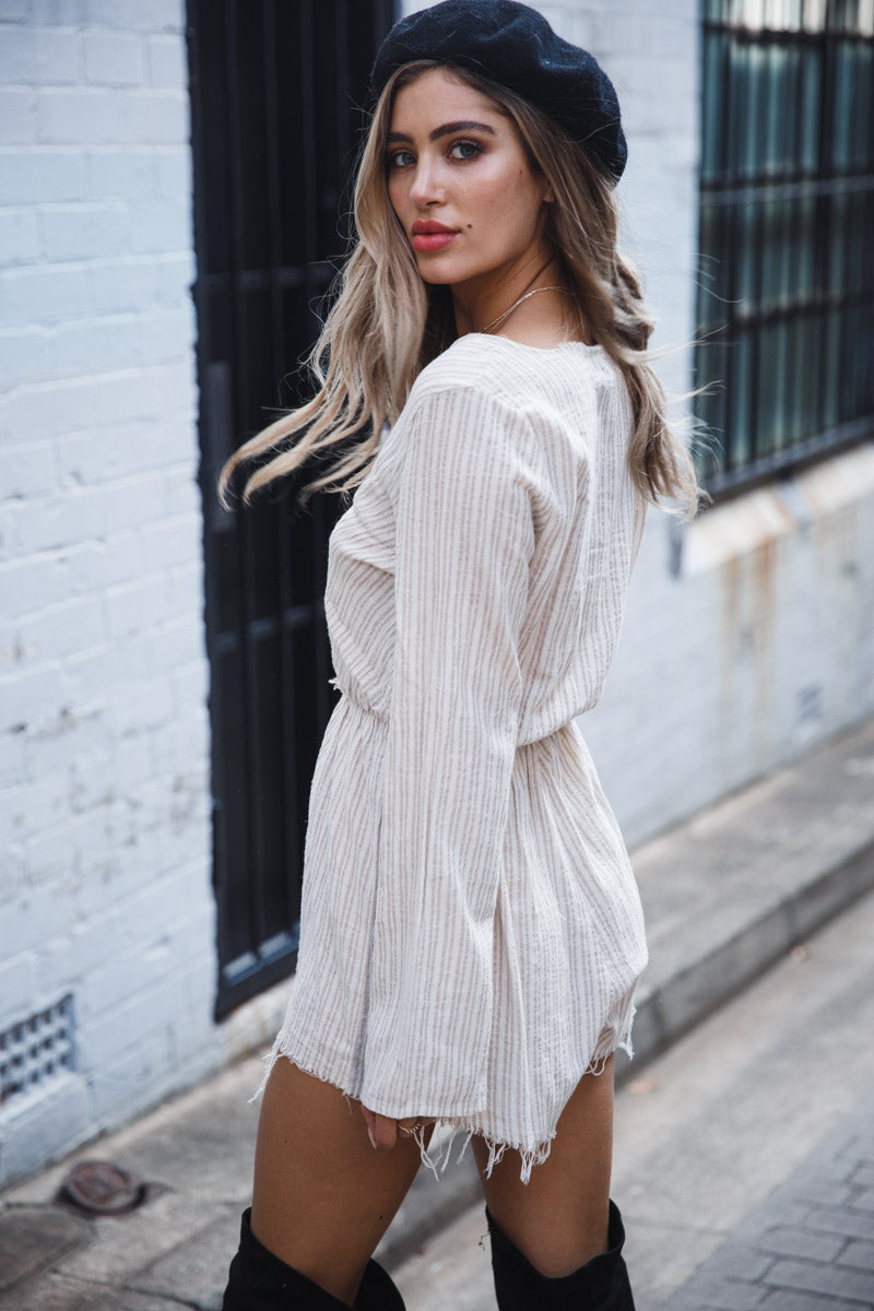 MONTES LONG SLEEVE PLAYSUIT - Cream Stripes