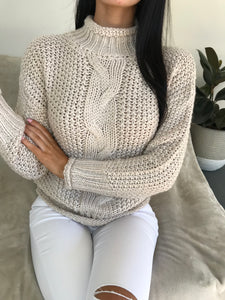 ALICIA LONG SLEEVE KNIT TOP - Beige
