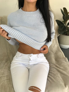 HALSEY LONG SLEEVE KNIT TOP - Blue