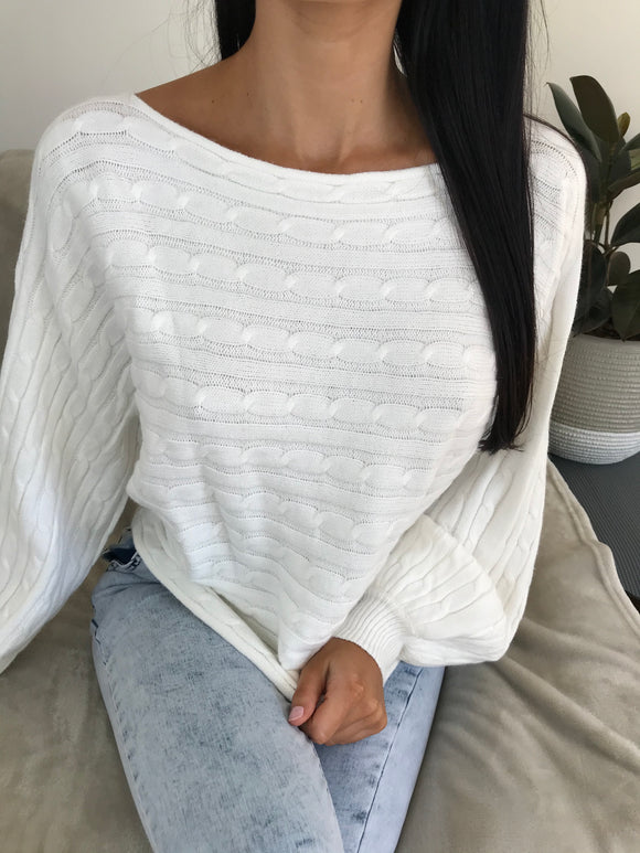 ELENA LONG SLEEVE KNIT TOP - White