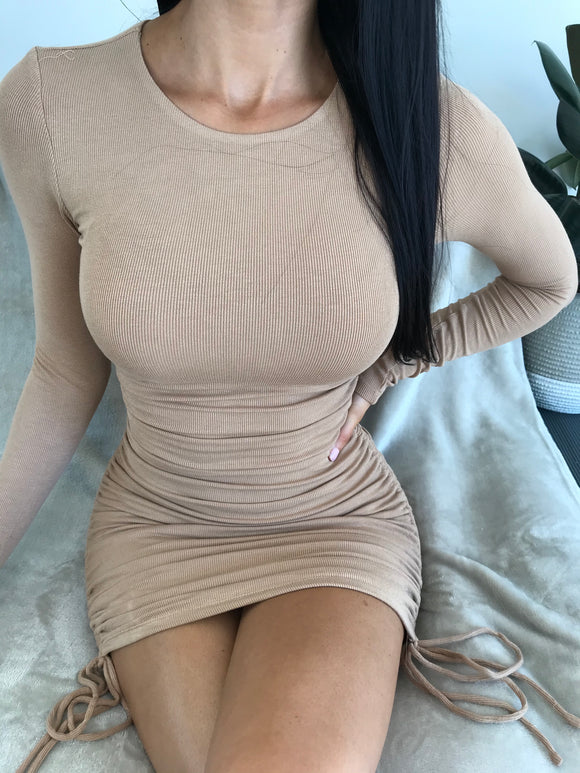 DAZZLING MINI DRESS - Tan