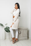 APRIL LONG SLEEVE KNIT CARDIGAN - White Beige