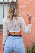 CHASING FIRES CROP TOP - White