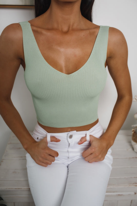 SARA SLEEVELESS CROP TOP - Sage