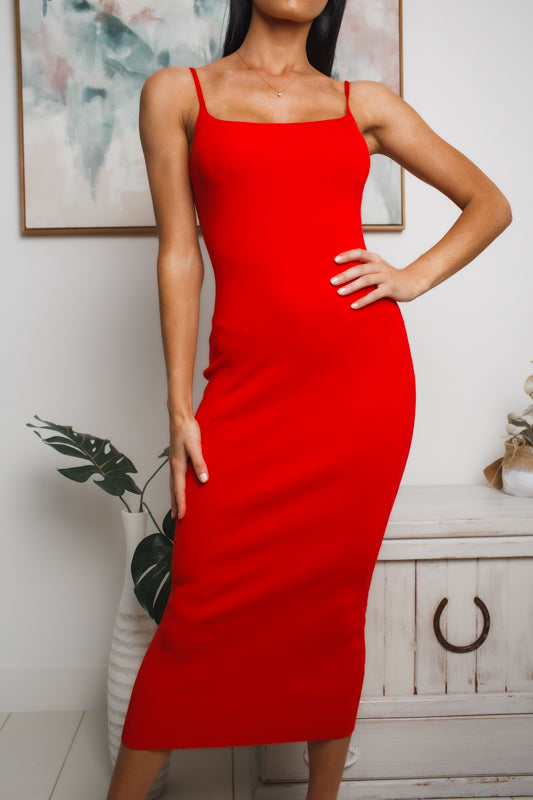 HALEY MIDI DRESS - Red