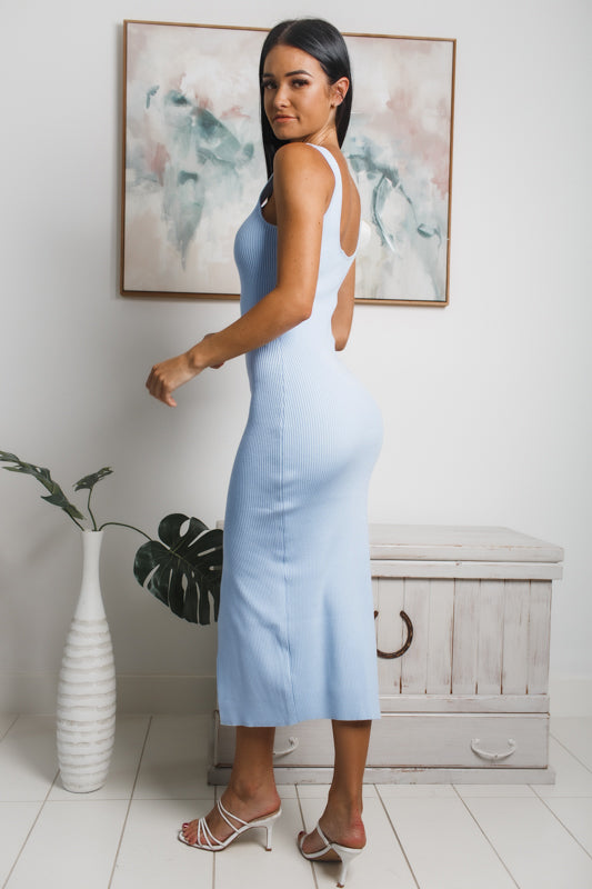 KARINA FRONT SPLIT KNIT MIDI DRESS - Pale Blue