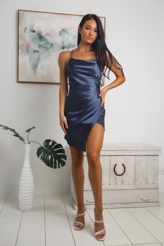 KENIA BACKLESS MINI DRESS - Navy