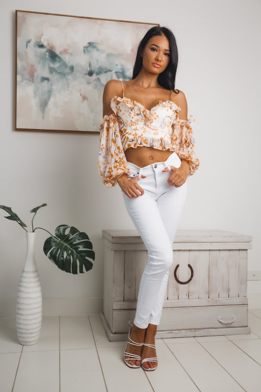 ALMA LONG SLEEVE CROP TOP - White Orange Floral
