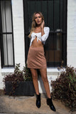 JOJO SKIRT - Tan Suede - Dolly Girl Fashion