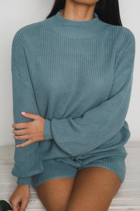 JOLIE LONG SLEEVE KNIT SWEATER - Teal