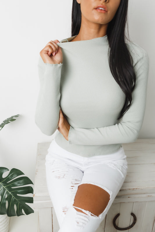 CLYDE LONG SLEEVE TOP - Pale Khaki