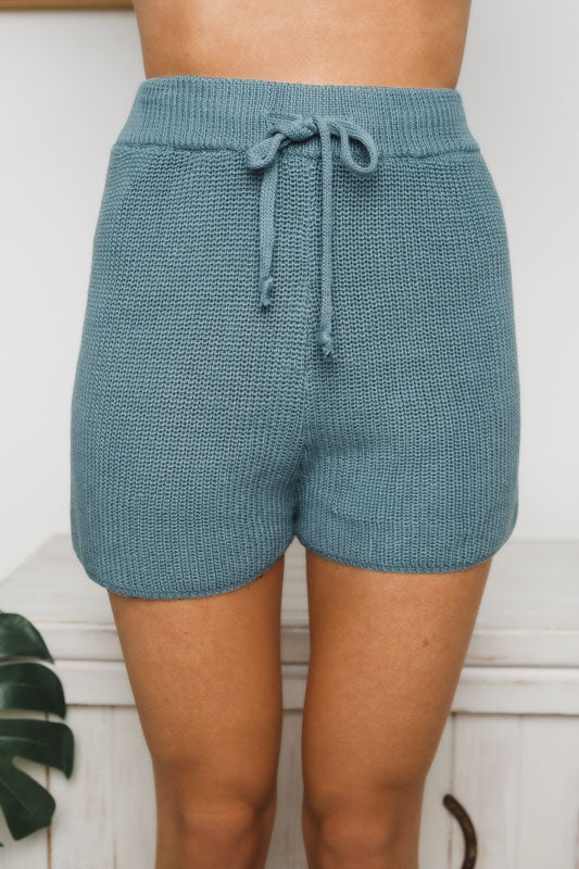JOLIE KNIT SHORTS - Teal