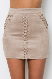 DESTINED MINI SKIRT - Beige