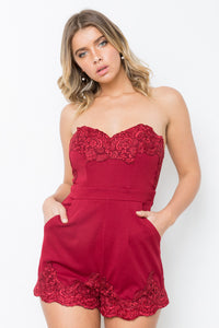 CHANCES STRAPLESS PLAYSUIT - Maroon