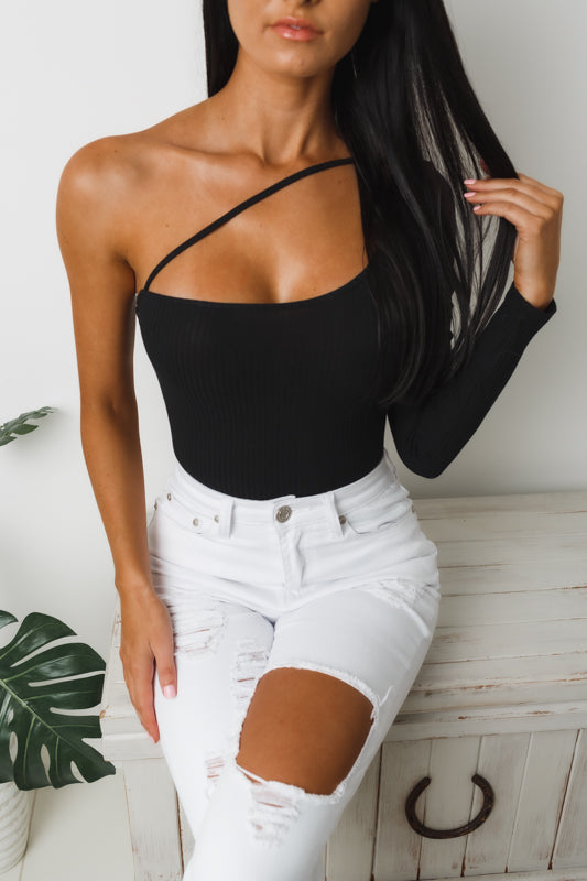 KAHLIA ONE SLEEVE BODYSUIT - Black