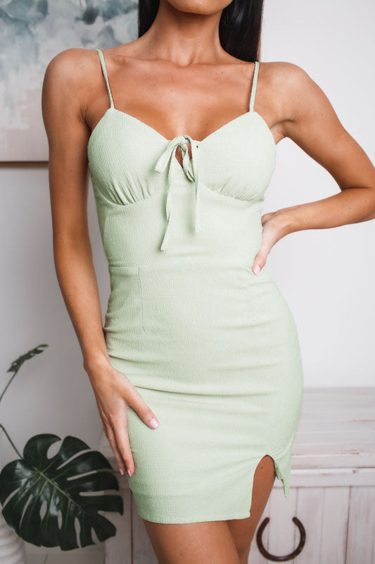 HALLIE MINI DRESS - Light Green