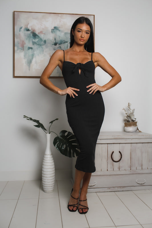 KATHERINE RIBBED MIDI DRESS - Black