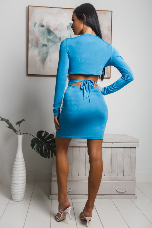 BLAIRE LONG SLEEVE MINI DRESS - Blue