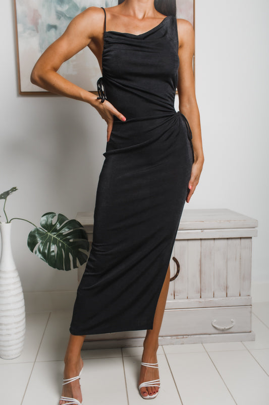 MAISY SIDE SPLIT MAXI DRESS - Black Metallic