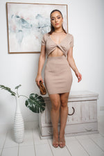 LIANE CUT-OUT KNIT MINI DRESS - Camel