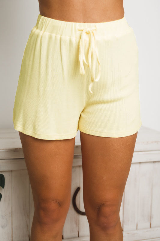 HOLLY WAFFLE SHORTS - Yellow