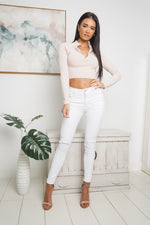LUSTRE LONG SLEEVE CROP TOP - Beige