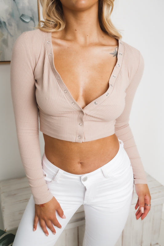 ALEENA LONG SLEEVE CROP TOP - Beige