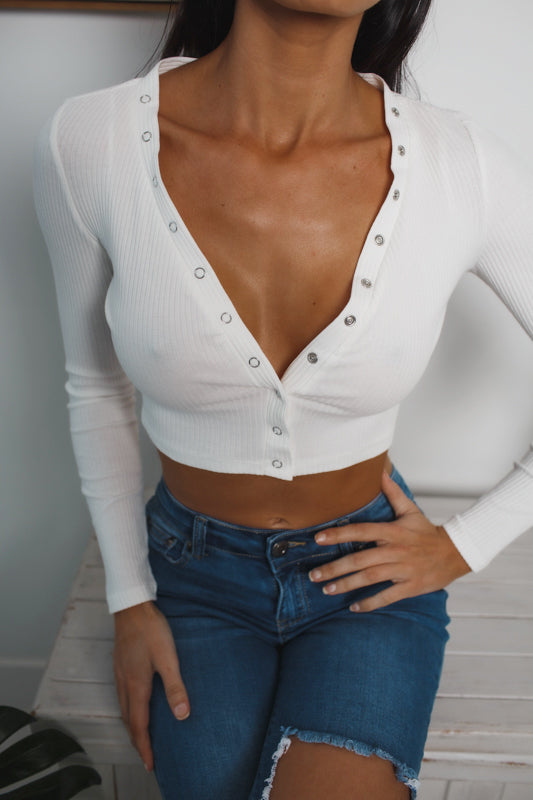 ALEENA LONG SLEEVE CROP TOP - White