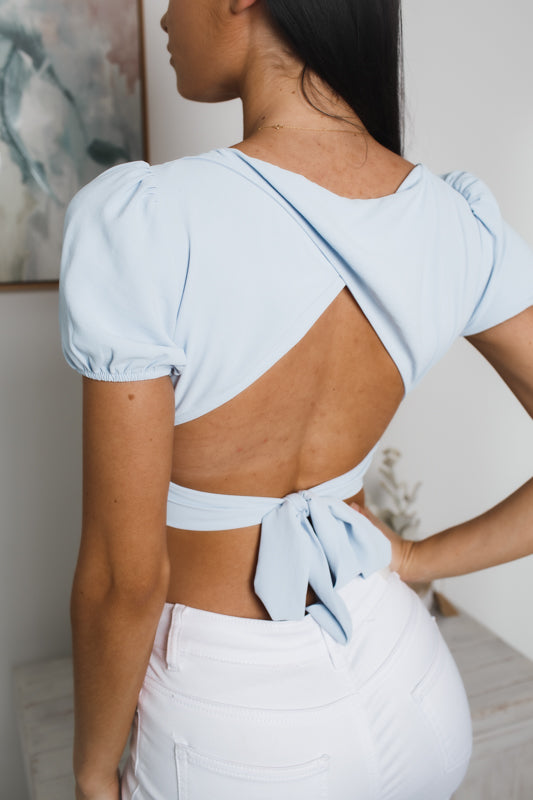 JULIO TIED BACK CROP TOP - Pale Blue