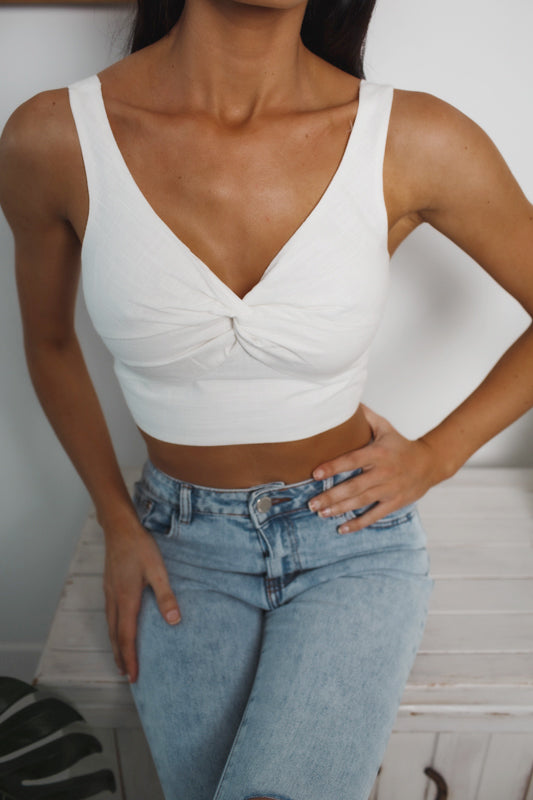 GIGI SLEEVELESS CROP TOP - White