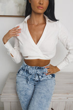 HAYLIE LONG SLEEVE CROP TOP - White