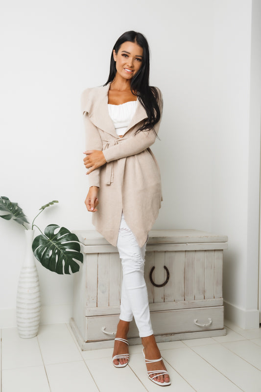 MIRIEM LONG SLEEVE KNIT CARDIGAN - Beige
