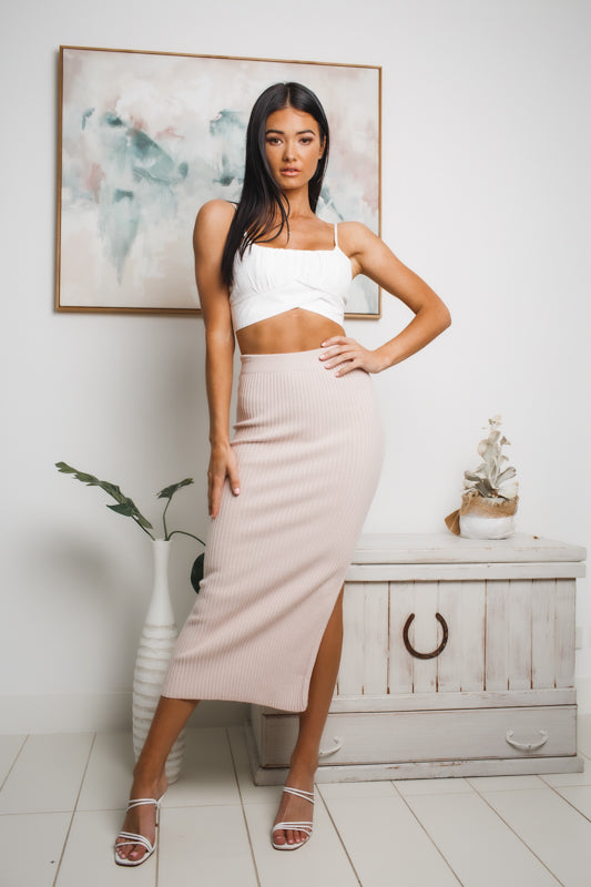 MISSY J KNIT MIDI SKIRT - Blush
