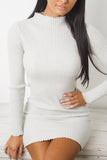 ALANA LONG SLEEVE KNIT DRESS - Grey