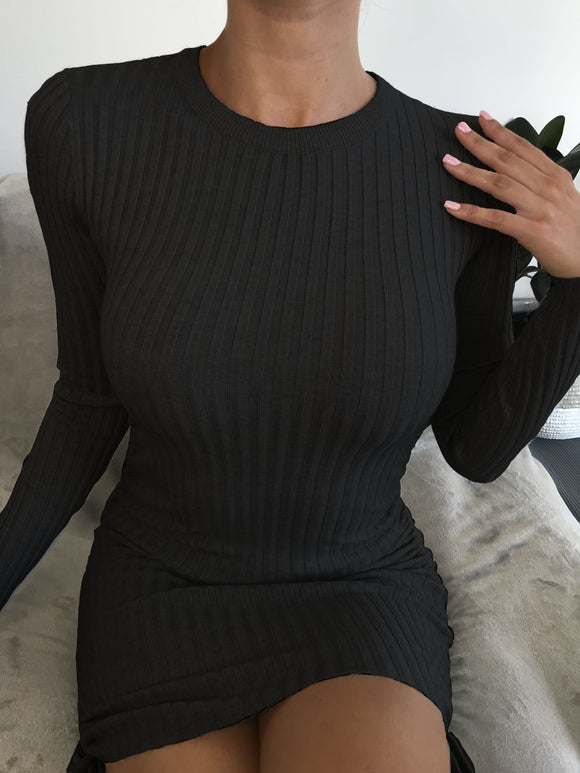 SWEET ROSES LONG SLEEVE KNIT DRESS - Black